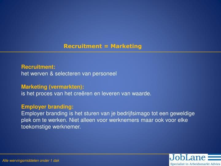 Recruitment = Marketing