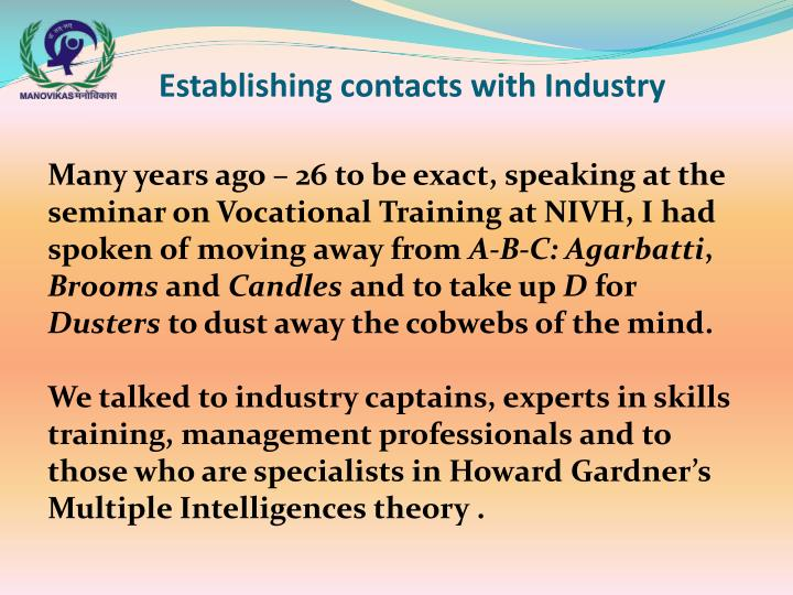 Establishing contacts with Industry