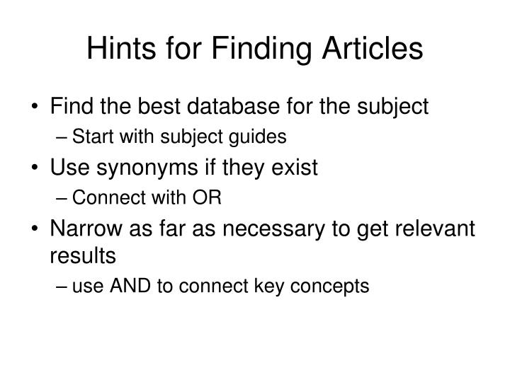 Hints for Finding Articles