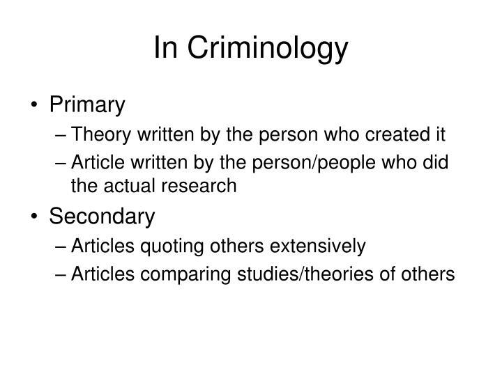In Criminology