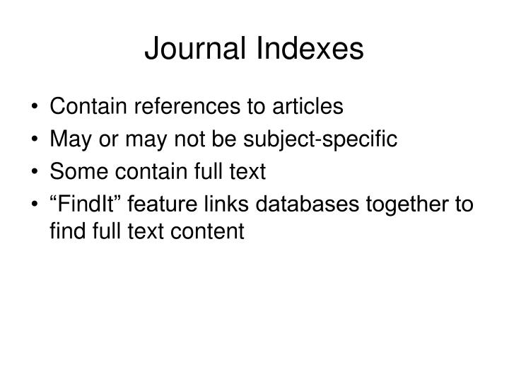 Journal Indexes