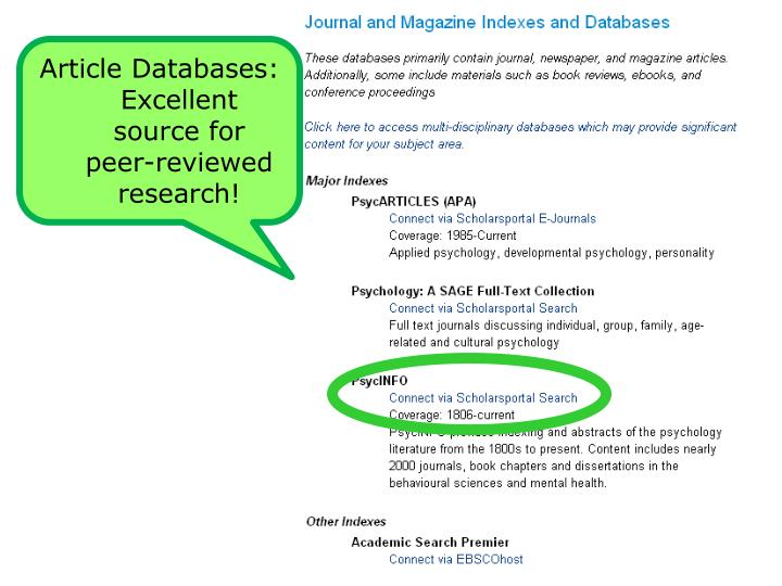 Article Databases: Excellent source for peer-reviewed research!