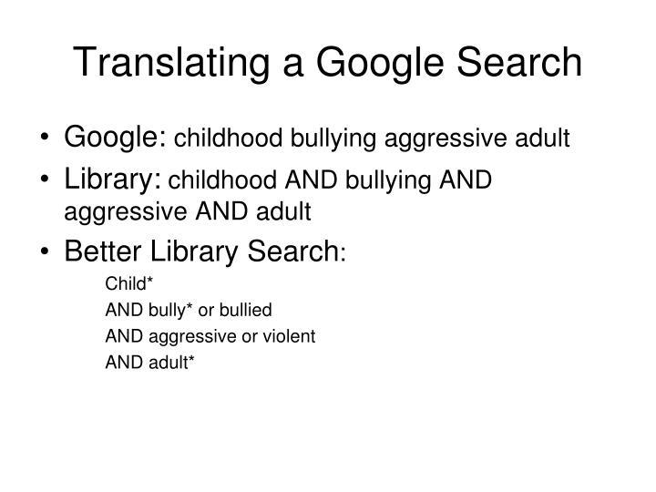 Translating a Google Search