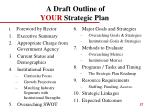 a draft outline of your strategic plan