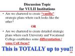 discussion topic for vulii institutions