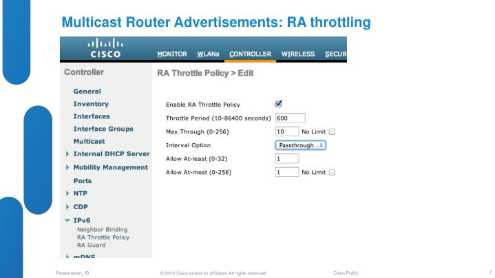Multicast Router Advertisements: RA throttling