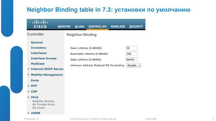 Neighbor Binding table in 7.3: