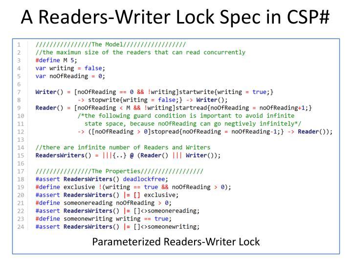 A Readers-Writer Lock Spec in CSP#