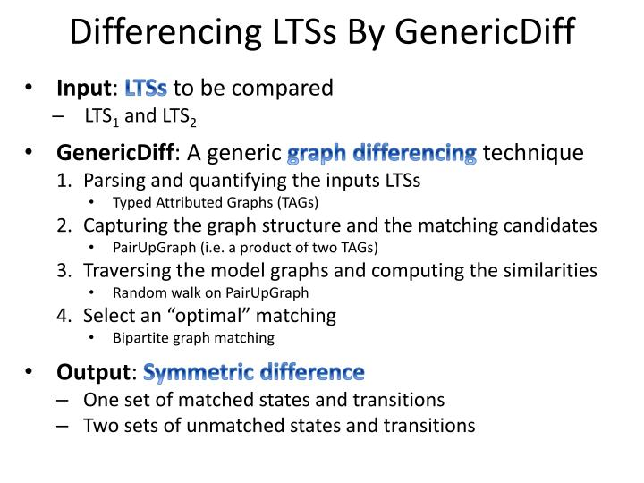 Differencing LTSs By GenericDiff