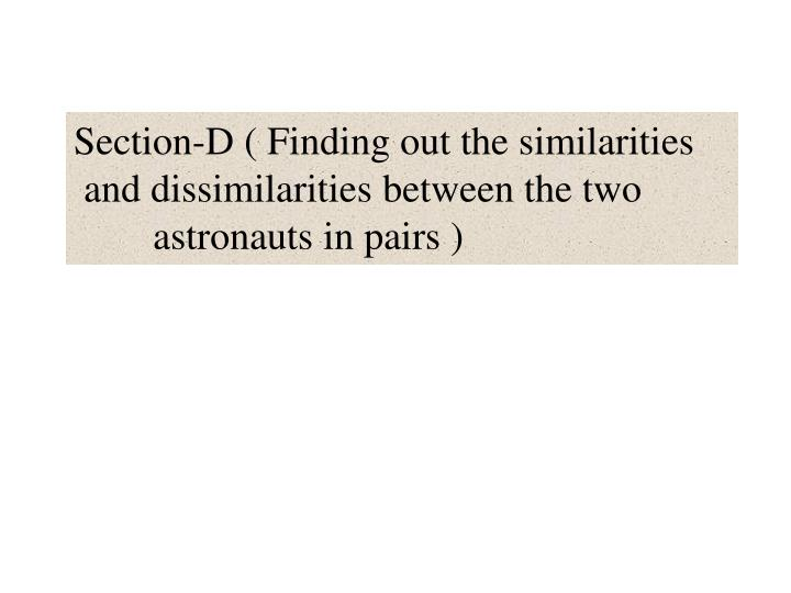 Section-D ( Finding out the similarities