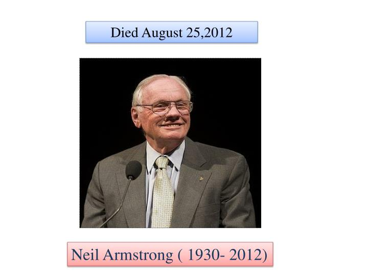 Died August 25,2012
