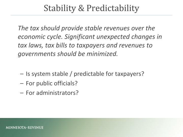 Stability & Predictability