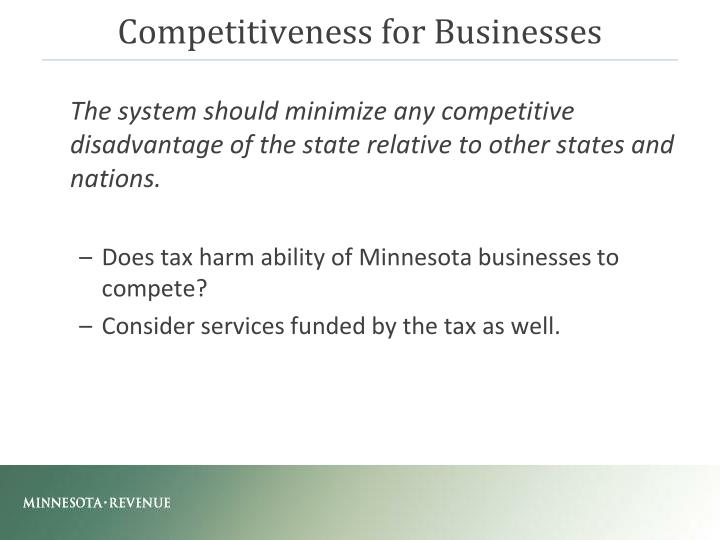 Competitiveness for Businesses
