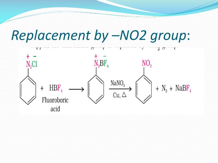 Replacement by –NO2 group