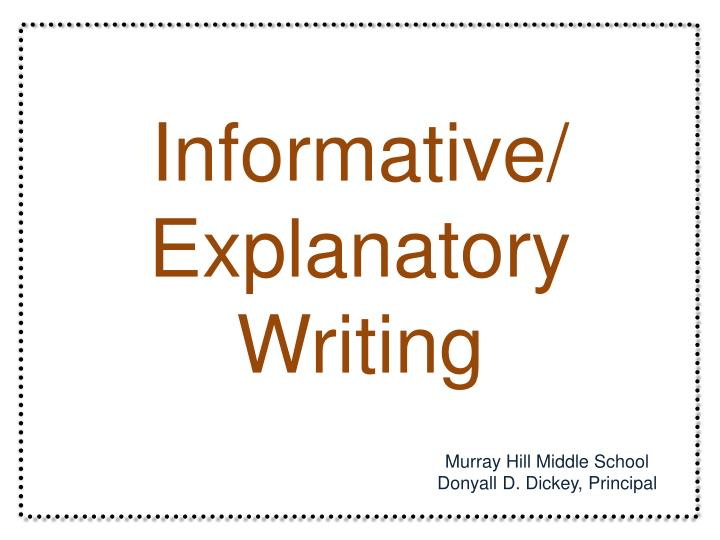 writing informative essays middle school Bell mountain middle school the essay below demonstrates the principles of writing a basic essay.