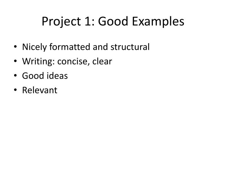 Project 1: Good Examples