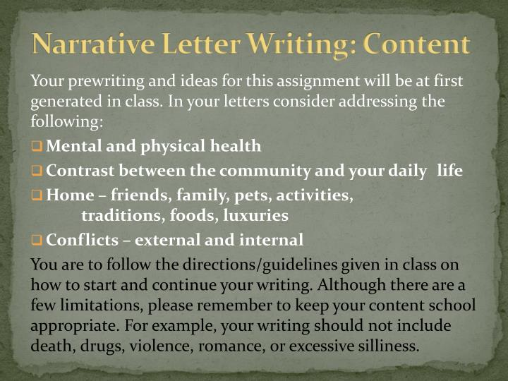 Narrative Letter Writing: Content