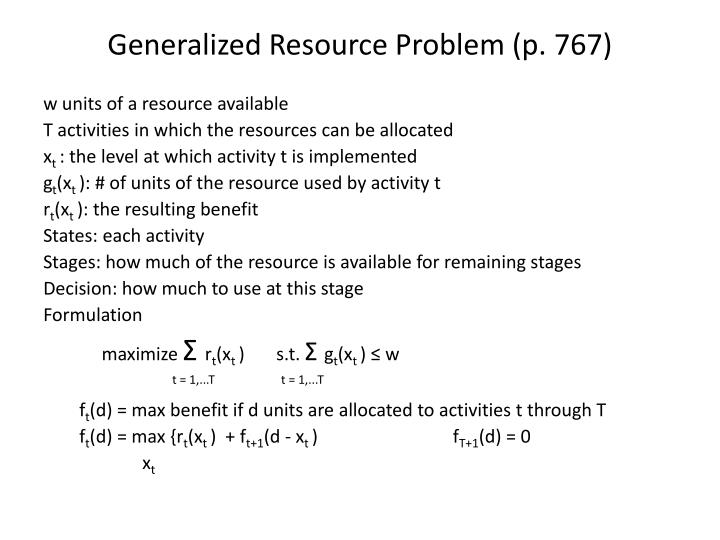Generalized Resource Problem (p. 767)