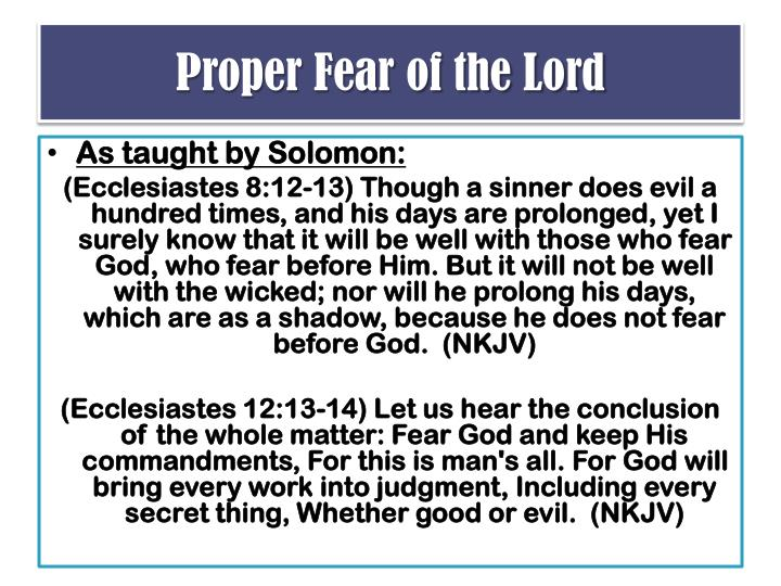Proper Fear of the Lord