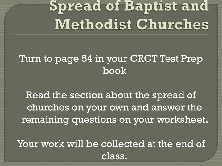 Spread of Baptist and Methodist Churches