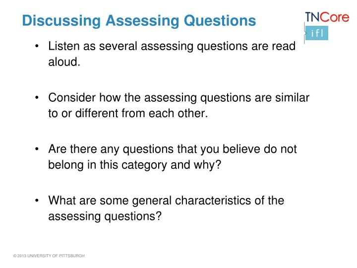 Discussing Assessing Questions