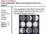 topic lunar phases essential question what is the sequence of the lunar phases8