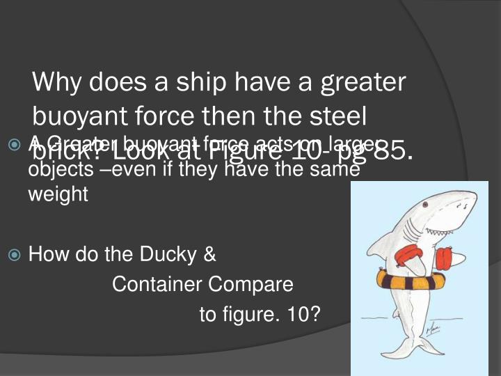 Why does a ship have a greater buoyant force then the steel brick look at figure 10 pg 85