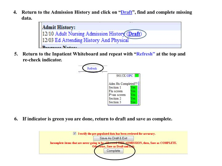 """Return to the Admission History and click on """""""