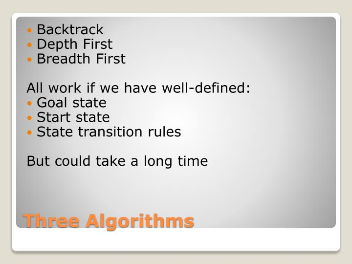 Three algorithms