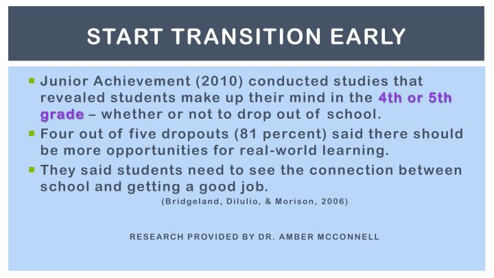 START TRANSITION EARLY