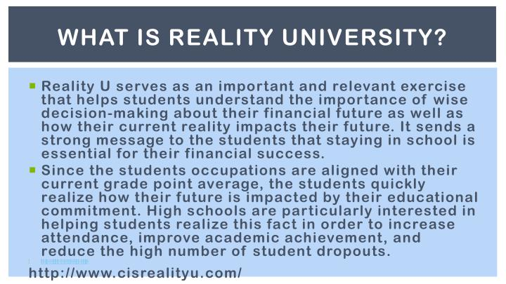 WHAT IS REALITY UNIVERSITY?