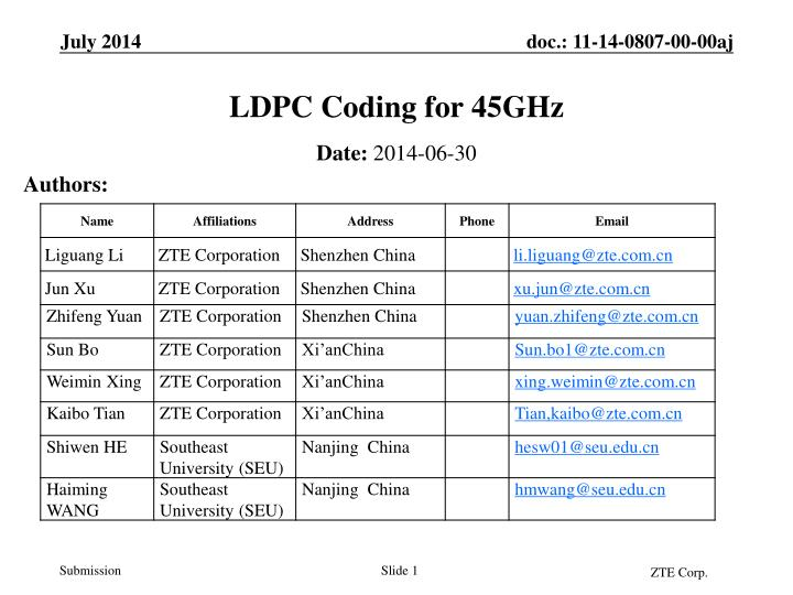 ldpc coding for 45ghz n.