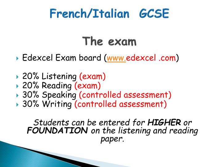 French italian gcse the exam