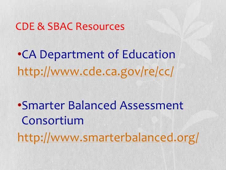CDE & SBAC Resources