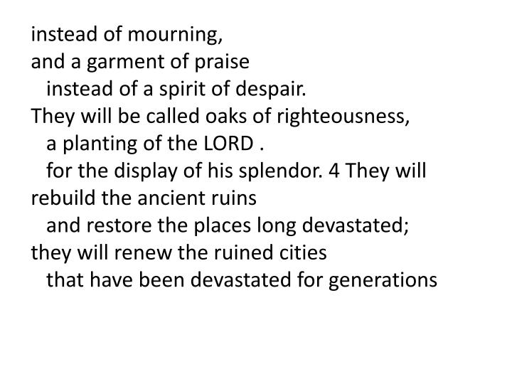 Instead of mourning,
