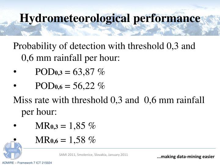 Hydrometeorological performance