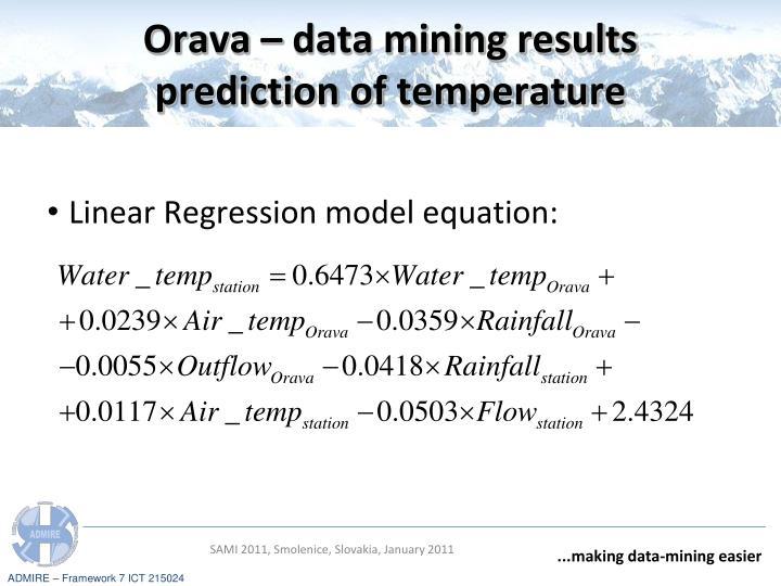 Orava – data mining results