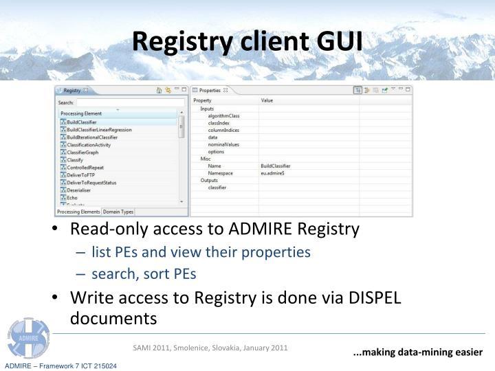 Registry client GUI