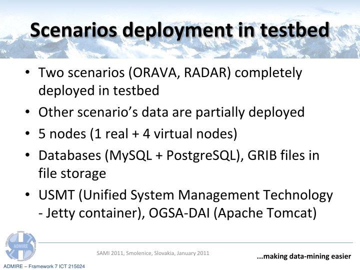 Scenarios deployment in testbed
