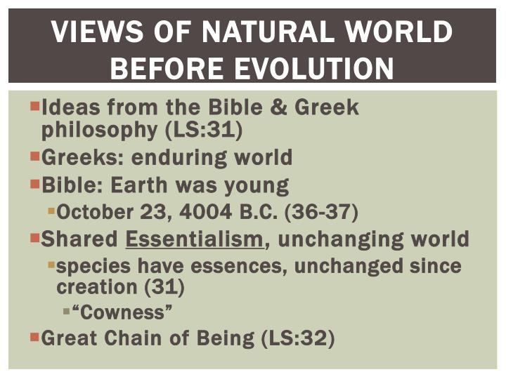 Views of natural world before evolution