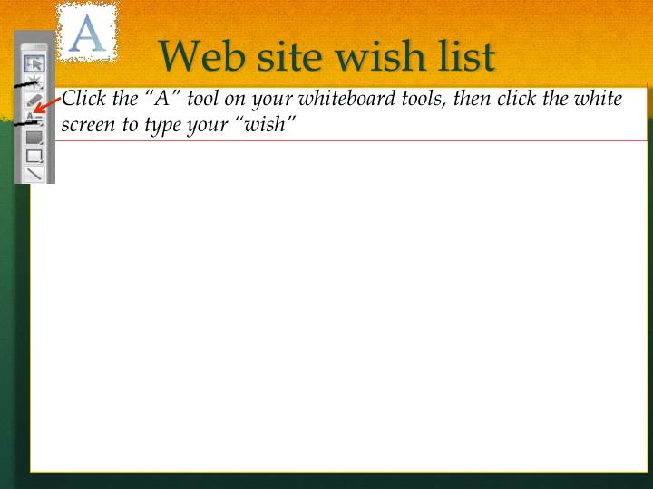 Web site wish list