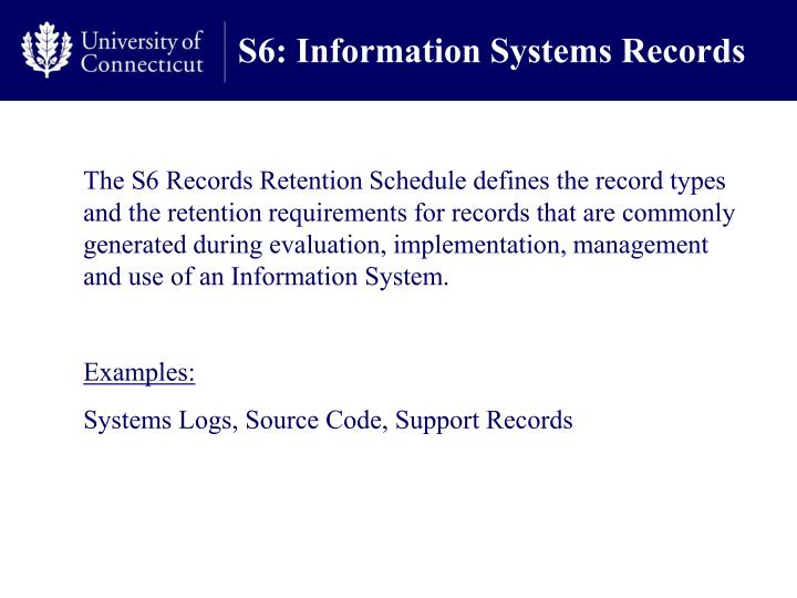 S6 information systems records