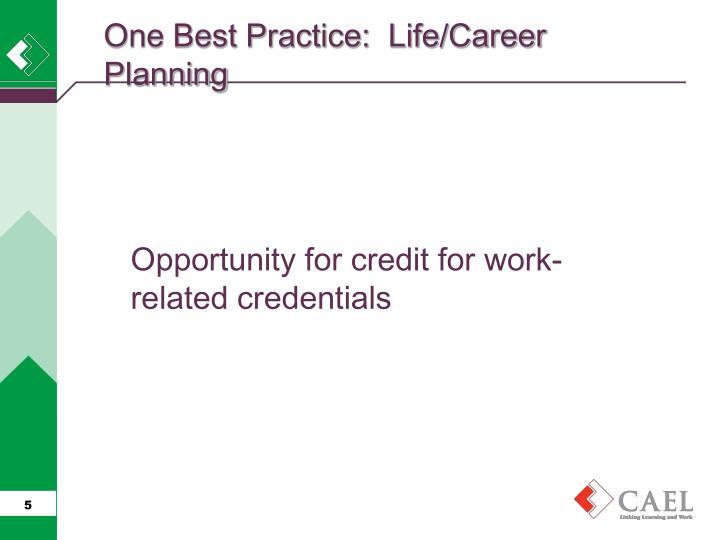 One Best Practice:  Life/Career Planning
