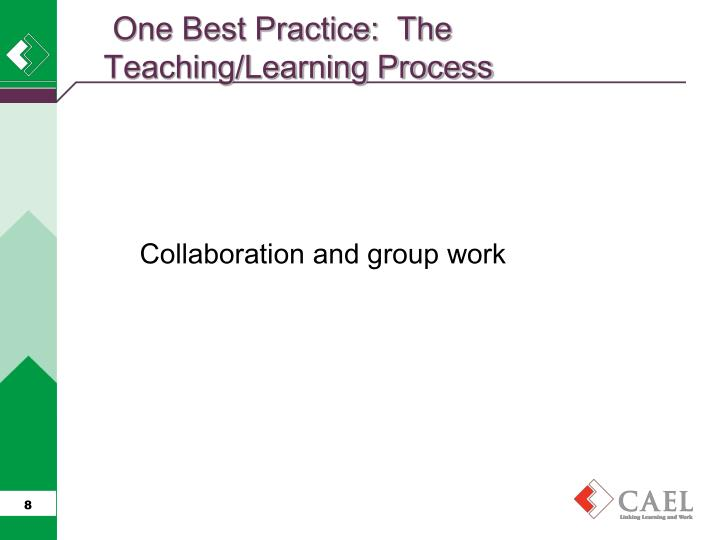 One Best Practice:  The Teaching/Learning Process