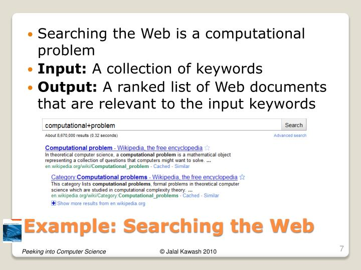 Searching the Web is a computational problem