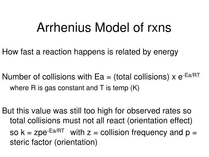 Arrhenius Model of rxns