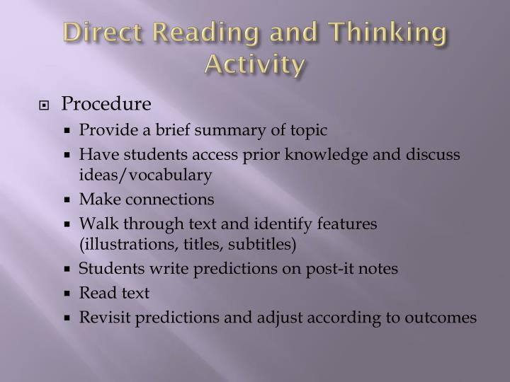 Direct Reading and Thinking Activity