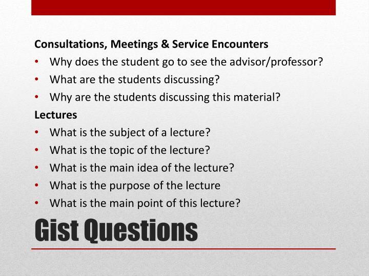 Consultations, Meetings &