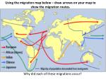using the migration map below draw arrows on your map to show the migration routes