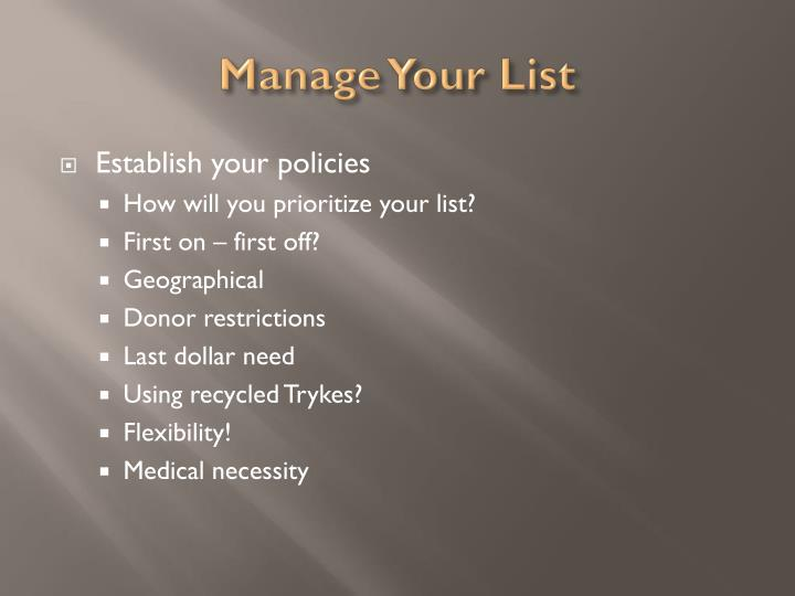 Manage Your List